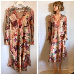 LINDI Colorful Abstract Artsy Midi Dress